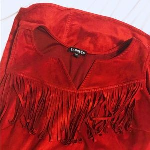 Express L NWOT Red Suede Dress